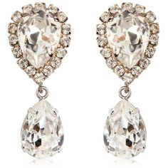 Dolce & Gabbana Women Large Swarovski Drop Clip-on Earrings (1,300 PEN) ❤ liked on Polyvore featuring jewelry, earrings, accessories, brincos, orecchini, transparent, swarovski crystal earrings, clip back earrings, clip earrings and dolce gabbana jewelry