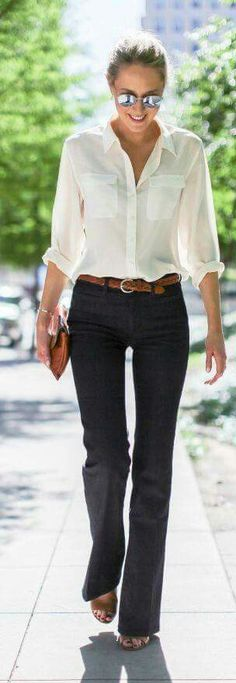 White button up collared dress shirt black pants brown belt