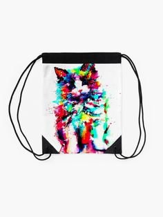 'Best Watercolor Art Design Women Cat Shirt Ideas' Drawstring Bag by GamingWear Watercolor Drawing, Watercolor Design, Framed Prints, Canvas Prints, Art Prints, Cat Shirts, Cat Design, Cool Cats, Cat Art