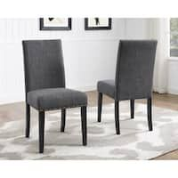 Shop Copper Grove Schwalbach Upholstered Parsons Dining Chairs (Set of 2) - On Sale - Overstock - 20461019 - Blue Parsons Dining Chairs, Fabric Dining Chairs, Dining Room Bar, Upholstered Dining Chairs, Dining Chair Set, Wooden Chairs, Kitchen Dining, Dining Table, Desk Chairs