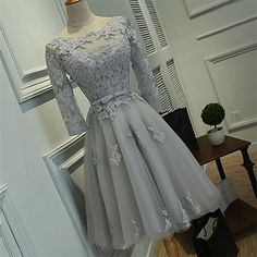 Long Sleeves Homecoming Dresses, Grey Lace Homecoming Dresses, Short Cheap Homecoming Dresses, sold by Oktypes. Shop more products from Oktypes on Storenvy, the home of independent small businesses all over the world. Dresses Short, Prom Dresses With Sleeves, Ball Dresses, Ball Gowns, Evening Dresses, Sexy Dresses, Formal Dresses, Summer Dresses, Dresses 2016