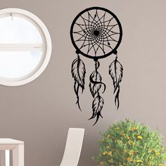 Wall Decal Dream Catcher Hippie Native America Wall Decor Feathers Vinyl Graphic Home Decor Art Mural Bedroom Dorm Living Room U002