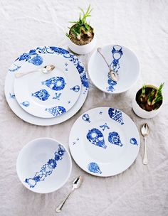 white and blue china - LOVE.