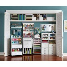 Definitely want to use the closet for storage like this. Also, color inspiration! /// Recollections Craft Room storage cubes and components at Michaels More