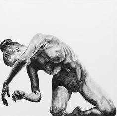 Mo II. 100 x 100 cm Stylo bille sur papier marouflé sur toile. 2014.    Philippe pujo.