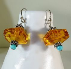 Faceted Honey Golden Citrine Nuggets & Bright Blue Turquoise Dangle Earrings