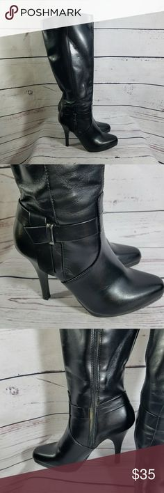 Worthington  Black Heel Boots Womans Size 7 These are hot ladies! Look like they have been worn once! Man made materials in a Size 7 Color black The brand is Worthington Worthington Shoes Heeled Boots