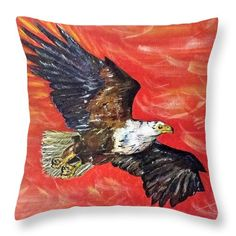 Freedom to Soar: An acrylic painting of an eagle by Kelly Goss Art printed on to throw pillows in 100% polyester or 100% cotton fabric. Perfect to brighten up and decorate your home lounge suite or bedroom. The special gift to spice up a friend's home decor, especially if they love African wildlife and bird art.