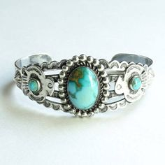 Native American Turquoise Cuff Bracelet with Thunderbirds Fred Harvey Era Signed Sterling by redroselady on Etsy