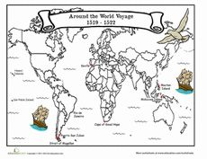 Adventurers and explorers, get inspired by a famous sailor! In the early Ferdinand Magellan set sail in to uncharted waters. Read all about his treacherous journey with this two-part worksheet, including a map for you to color. Social Studies Worksheets, 5th Grade Social Studies, Teaching Social Studies, Fun Worksheets, Explorers Unit, Early Explorers, Middle Ages History, History Class, Teaching History