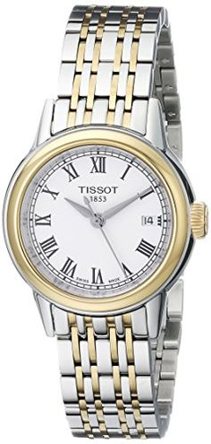 Tissot Women's T0852102201300 Carson Analog Display Swiss Quartz Two Tone Watch - Stainless steel case with a two-tone (silver and gold PVD) stainless steel bracelet. Fixed two-tone (silver and gold PVD) bezel. White dial with black hands and Roman numeral hour markers. Minute markers around the outer rim. Dial Type: Analog. Date display at the 3 o'clock position. Quartz movem...
