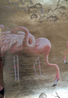 DeGournay Flamingos painted in Ghost style on Deep Rich Gold gilded paper The Peak of Chic® Painting Wallpaper, Pink Wallpaper, Wall Wallpaper, Hand Painted Walls, Painted Paper, How To Use Pastels, De Gournay Wallpaper, Flamingo Painting, Blue Garden