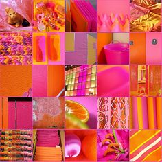 Photo by Shabby Chic: http://www.flickr.com/photos/shabby_chic/2734125400/     -- This photo truly depicts how intense, stimulating, and addictive the energy is of the color blend of vivid oranges and pinks.    Orange reflects extraordinary warmth and high energy while pink evokes sugary sweetness and wanton fantasy, and when both colors are deeply saturated and glowing, the combination of their effects and associations is a welcoming, over-the-top, sensation.