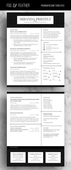 Modern Resume, CV Template, Resume Template, Cover Letter - reference template for resume