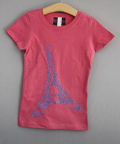 Look at this #zulilyfind! Pink & Purple Eiffel Tower Glitter Tee - Girls #zulilyfinds