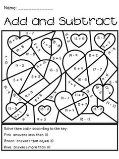 Valentine's Day Add and Subtract Activity - great for or grade morning work or a math center. Hang as holiday decoration., might be too easy though Math Classroom, Kindergarten Math, Classroom Activities, Teaching Math, Math Stations, Math Centers, Valentines Day Activities, Holiday Activities, Second Grade Math