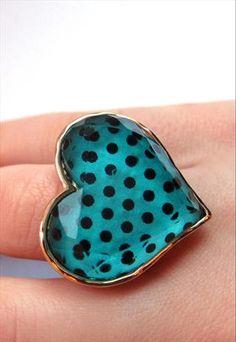 Polka Dot Heart Ring (Turquoise)