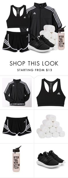 """""""~I work out~"""" by ari-ellah ❤ liked on Polyvore featuring adidas, ban.do, adidas Originals, workout, waterbottle, towels and Adidasshorts"""