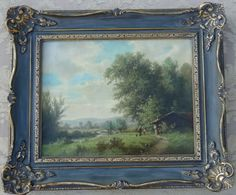 ANTIQUE EARLY CONTINENTAL OIL ON CANVAS LANDSCAPE PAINTING FRENCH ROCOCO FRAME #Realism