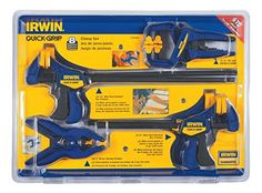 The IRWIN QUICK-GRIP Clamp Set includes six One-Handed Mini Bar Clamps and two handi-clamps ideal for smaller projects and clamping in confined spaces. The One-Handed Mini Bar clamps have a patented pistol-grip design for increased comfort, n. Woodworking Power Tools, Essential Woodworking Tools, Antique Woodworking Tools, Woodworking Basics, Woodworking Workbench, Woodworking Supplies, Woodworking Techniques, Woodworking Furniture, Fine Woodworking