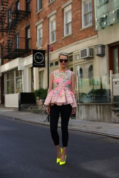 colorful peplum top with leggings
