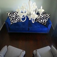 @monicasais80's living room is coming together! Features our Pauline Sofa and Calais Chandelier.