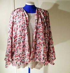 Veste kimono Femme printemps été en viscose rose et gris taille unique de la boutique ledressingdesarah91 sur Etsy