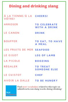 Learn here the basic vocabulary for Dining and drinking, whenever you're in France it'll help you a lot. + download the list in PDF format for free! Get it here: https://www.talkinfrench.com/slang-words-dining-drinking/