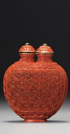 """An """"imitation-lacquer """" porcelain double snuff bottle. Seal Mark and Period of Jiaqing   Sotheby's"""