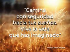 """""""Camina con seguridad hacia tus sueños.  Vive la vida que has imaginado"""" - Henry David Thoreau #Spanish #LearnSpanish #Languages #Quotes"""