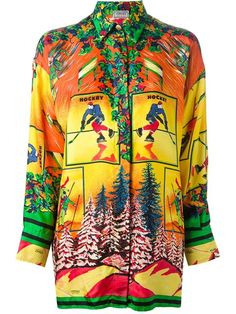 Multi coloured silk 'Ski Scene' oversized shirt from Versace Vintage featuring a pointed collar, a front button placket, long sleeves, button cuffs and a straight hem.