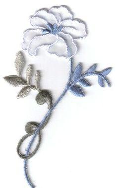 Blue /& Purple Pansies Iron On Floral Patch Applique 3″W X 2″H.