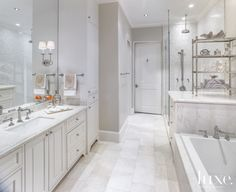 The daughter's bathroom includes a faucet by Newport Brass and accessories from Eclectic Home. Luxe Interiors, Bathroom Decor, Amazing Bathrooms, Beautiful Bathrooms, House, Interior Design, Luxury Homes, White Bathroom, Bathroom Design