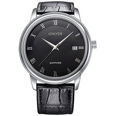 This one looks Amazing ! #WatchBeOnTime #GNOTH Men's Roman numerals Fashion Business Casual Watch with Date Display Black Leather Strap