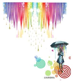 """Rain...bow!"" by lisariel ❤ liked on Polyvore featuring art"