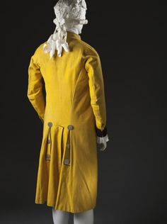 Back view, 3-piece suit, Spain, c. 1785. Yellow wool plain weave, full finish, with silk cut velvet on twill foundation, metal buttons.