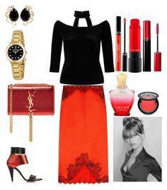 """Metallic Red"" by colesumler ❤ liked on Polyvore featuring Miss Selfridge, Kim Kwang, Bounkit, rag & bone, Sephora Collection, MAC Cosmetics, Creed, Giorgio Armani, Ardency Inn and Bulova"