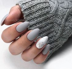 A manicure is a cosmetic elegance therapy for the finger nails and hands. A manicure could deal with just the hands, just the nails, or Almond Acrylic Nails, Simple Acrylic Nails, Acrylic Nail Designs, Matte Gel Nails, Acrylic Tips, Fall Almond Nails, Matte White Nails, Grey Nail Art, Gel Manicures
