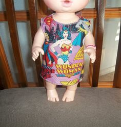 Baby 12 inch Alive doll handmade dress pink purple with Wonder Woman on it by sue18inchdollclothes on Etsy