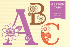 Garden Caps - Floral Display Font by Shiloh Graphic Design on Pretty Fonts, Beautiful Fonts, Cool Fonts, Vine And Branches, Silhouette Fonts, Material Design Background, Journal Fonts, Hand Lettering Fonts, Drop Cap