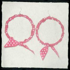 χειροποίητη κρήκοι σκουλαρίκια με κορδέλα φούξ πουά =)