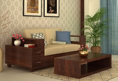 Buy Solace 2 Seater Wooden Sofa Online with Walnut Finish and add this to your living space for beautiful and attain impact. Get online from the fantastic range Diy Sofa, Sofa Bed, Living Room Sofa Design, Living Spaces, Sofa Set Online, Wooden Sofa, 2 Seater Sofa, Sofa Furniture, Office Interiors