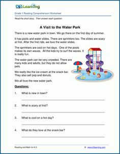 A Visit to the Water Park – Grade 1 Children's Story Reading Comprehension For Kids, Picture Comprehension, First Grade Reading Comprehension, Reading Passages, Reading Skills, Comprehension Questions, Phonics Worksheets Grade 1, English Worksheets For Kindergarten, Reading Worksheets