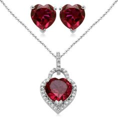 """Sterling Silver Heart Created Ruby and Diamond Ring, Pendant Necklace, Earrings Box Set, Size 7 Amazon Curated Collection. $87.00. All our diamond suppliers certify that to their best knowledge their diamonds are not conflict diamonds.. Height of Pendant:0.693"""". Length of Pendant:18"""", Length of Ring:0.38"""", Length of Earring:0.255"""". The natural properties and composition of mined gemstones define the unique beauty of each piece. The image may show slight difference..."""