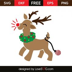 *** FREE SVG CUT FILE for Cricut, Silhouette and more ***  Red nosed reindeer Christmas Vinyl, Christmas Angels, Christmas Shirts, Christmas Projects, Christmas Sayings, Christmas Aprons, Xmas, Christmas Items, Christmas Images