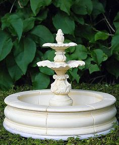 Miniature Dollhouse FAIRY GARDEN Furniture ~ Ivory 2-Step Fountain ~ NEW