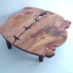 Burr Elm table with Zebrano