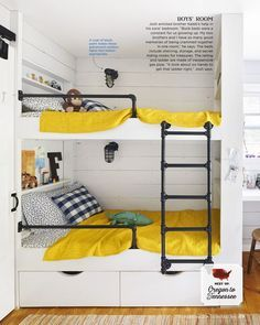 the beds in this kids room include shelving storage and secret hiding nooks for treasures the railing and ladder are made of inexpensive gas pipe