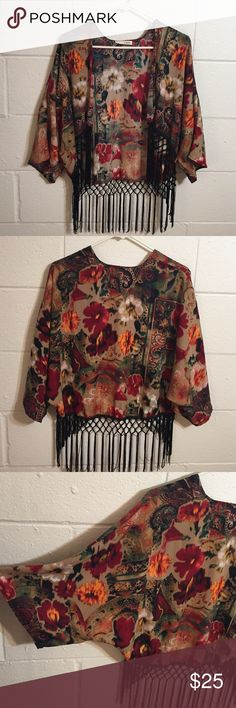Short Kimono With Fringe Cropped style. Muted floral print. Black fringed hem. EUC a.gain Jackets & Coats