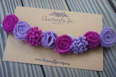 Púrpura y Magenta fieltro Flores corona corona de flor de
